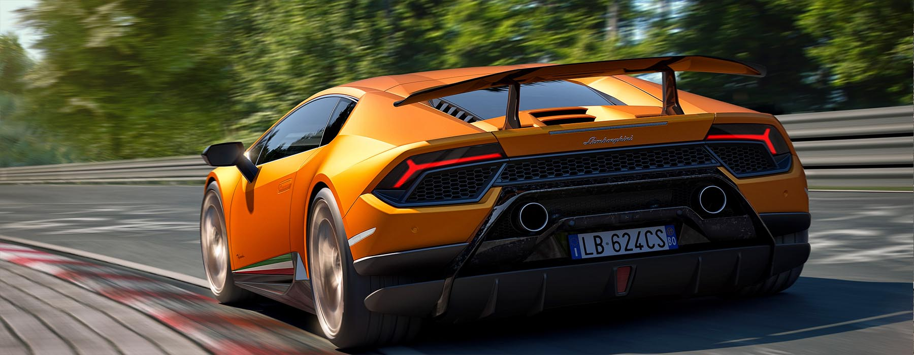 drive a lamborghini huracan performance on a racetrack at exotics racing